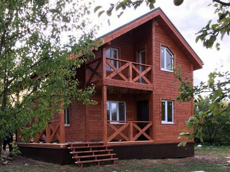 Каркасный дом 6х8 с балконом и террасой